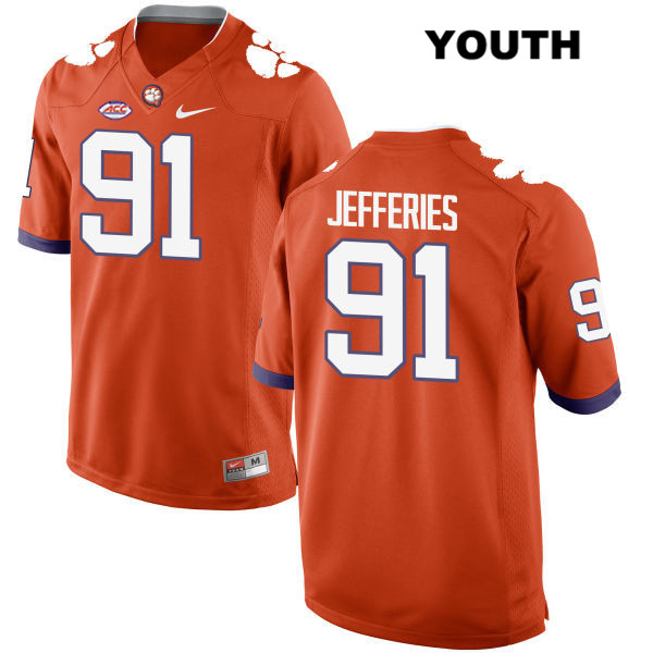 Darnell Jefferies Clemson Tigers no. 91 Stitched Nike Youth Style 2 Orange Authentic College Football Jersey - Darnell Jefferies Jersey