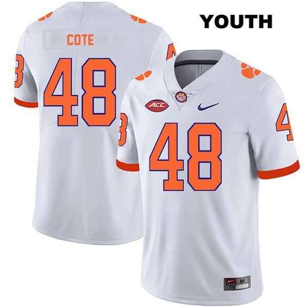 David Cote Clemson Tigers Legend Nike no. 48 Stitched Youth White Authentic College Football Jersey - David Cote Jersey