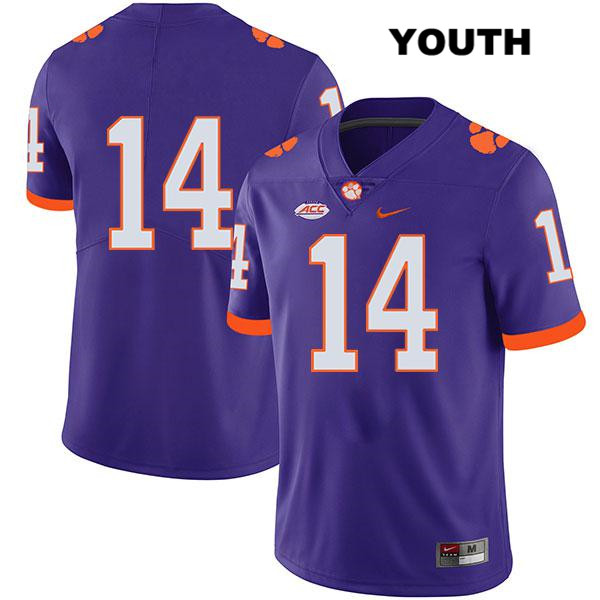 Legend Denzel Johnson Clemson Tigers no. 14 Youth Stitched Nike Purple Authentic College Football Jersey - No Name