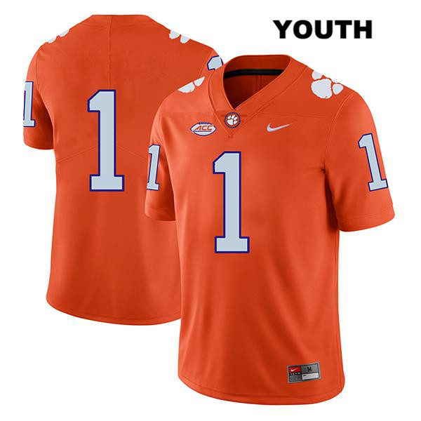 Derion Kendrick Clemson Tigers no. 1 Nike Youth Legend Orange Stitched Authentic College Football Jersey - No Name - Derion Kendrick Jersey
