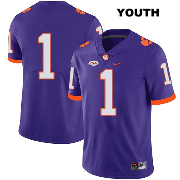 Derion Kendrick Clemson Tigers Stitched no. 1 Nike Youth Purple Legend Authentic College Football Jersey - No Name - Derion Kendrick Jersey