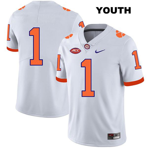 Derion Kendrick Clemson Tigers Nike no. 1 Youth Legend Stitched White Authentic College Football Jersey - No Name - Derion Kendrick Jersey