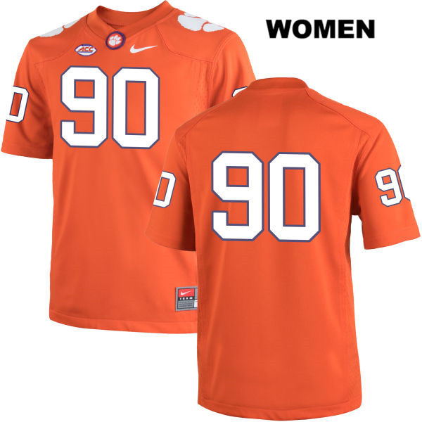 Dexter Lawrence Clemson Tigers no. 90 Stitched Womens Nike Orange Authentic College Football Jersey - No Name - Dexter Lawrence Jersey
