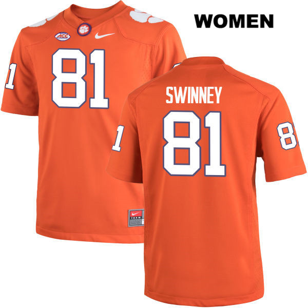 Drew Swinney Clemson Tigers no. 81 Womens Nike Stitched Orange Authentic College Football Jersey - Drew Swinney Jersey
