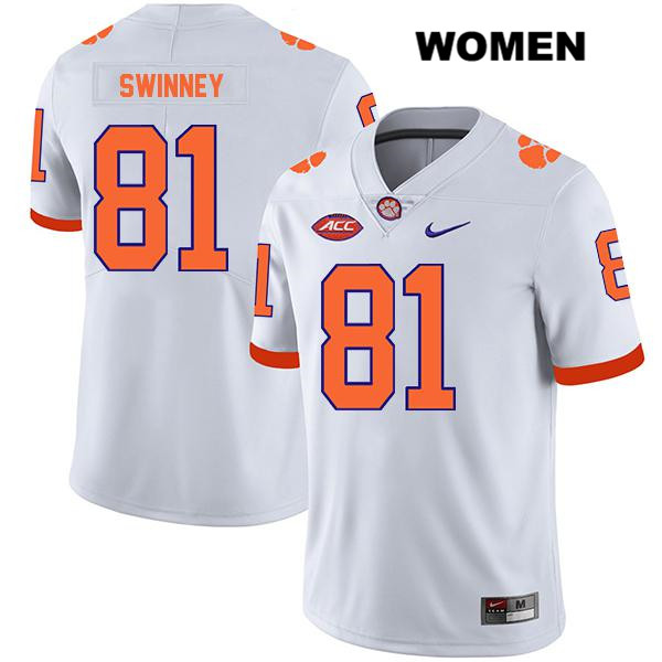 Drew Swinney Stitched Clemson Tigers Nike no. 81 Legend Womens White Authentic College Football Jersey - Drew Swinney Jersey