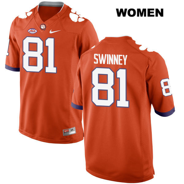 Drew Swinney Clemson Tigers Nike no. 81 Style 2 Womens Stitched Orange Authentic College Football Jersey - Drew Swinney Jersey