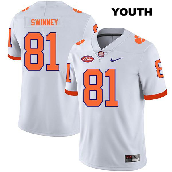 Drew Swinney Stitched Clemson Tigers Legend no. 81 Nike Youth White Authentic College Football Jersey - Drew Swinney Jersey