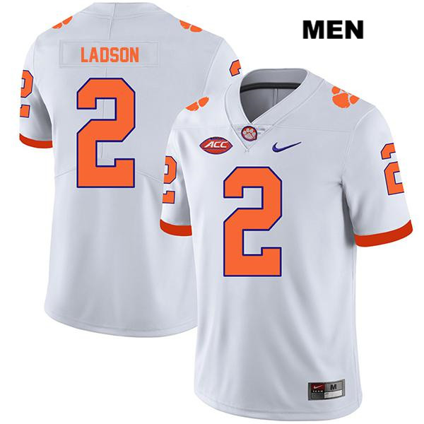 Frank Ladson Jr. Stitched Clemson Tigers no. 2 Mens Nike White Legend Authentic College Football Jersey