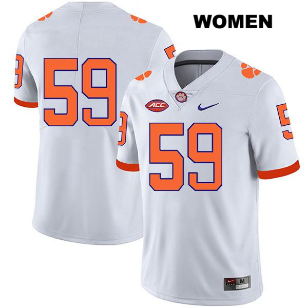 Gage Cervenka Clemson Tigers no. 59 Stitched Womens Nike White Legend Authentic College Football Jersey - No Name - Gage Cervenka Jersey