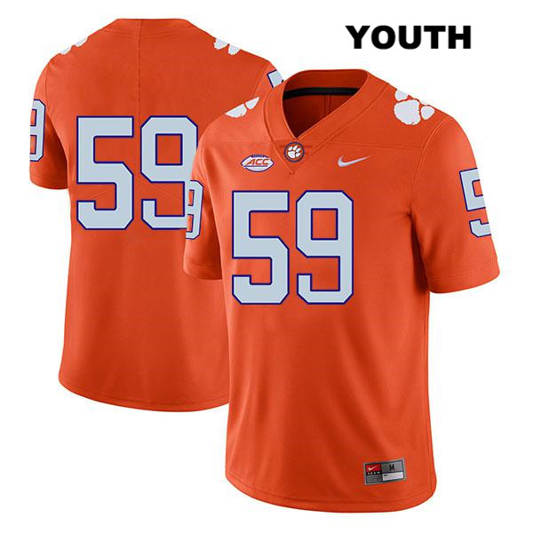 Gage Cervenka Stitched Clemson Tigers no. 59 Nike Youth Legend Orange Authentic College Football Jersey - No Name - Gage Cervenka Jersey