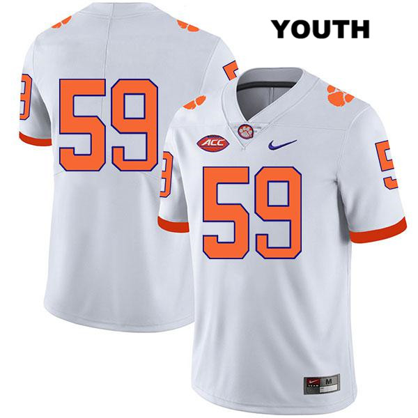 Gage Cervenka Legend Clemson Tigers no. 59 Stitched Youth White Nike Authentic College Football Jersey - No Name - Gage Cervenka Jersey