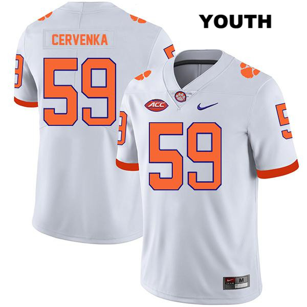 Gage Cervenka Clemson Tigers Nike no. 59 Legend Youth Stitched White Authentic College Football Jersey - Gage Cervenka Jersey