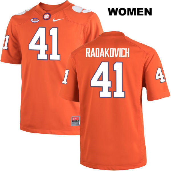 Grant Radakovich Stitched Clemson Tigers no. 41 Womens Orange Nike Authentic College Football Jersey - Grant Radakovich Jersey