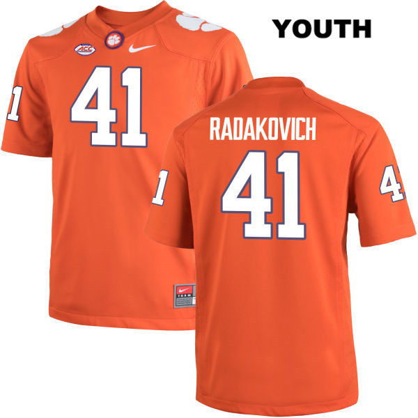Grant Radakovich Nike Clemson Tigers no. 41 Youth Orange Stitched Authentic College Football Jersey - Grant Radakovich Jersey