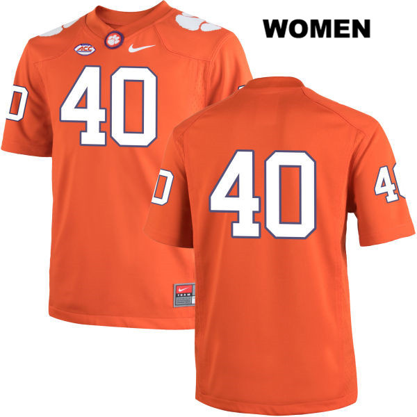 Hall Morton Stitched Clemson Tigers no. 40 Womens Orange Nike Authentic College Football Jersey - No Name - Hall Morton Jersey