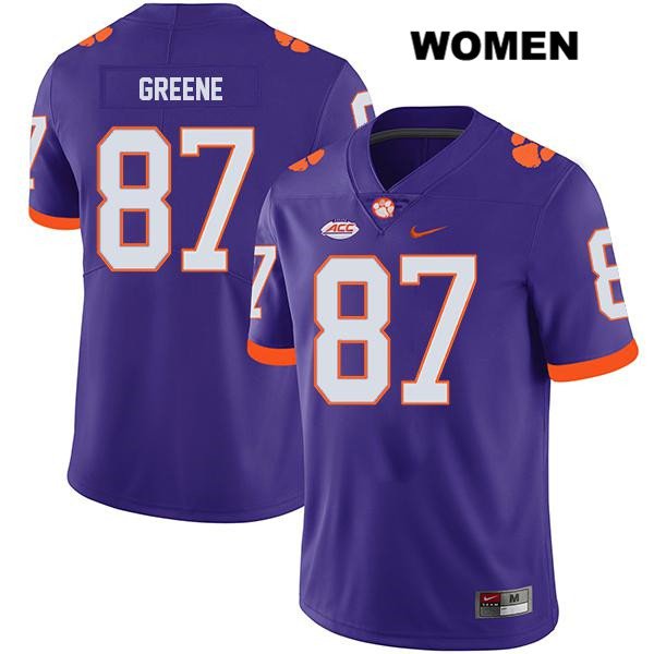 Hamp Greene Nike Legend Clemson Tigers no. 87 Stitched Womens Purple Authentic College Football Jersey - Hamp Greene Jersey