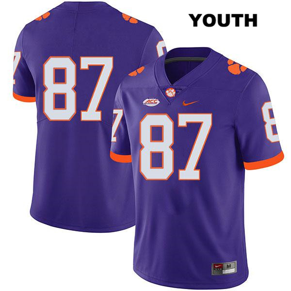 Hamp Greene Clemson Tigers Stitched Nike no. 87 Legend Youth Purple Authentic College Football Jersey - No Name - Hamp Greene Jersey