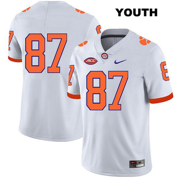Hamp Greene Stitched Nike Clemson Tigers no. 87 Legend Youth White Authentic College Football Jersey - No Name - Hamp Greene Jersey