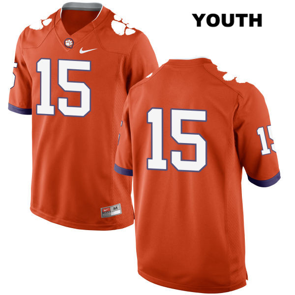 Hunter Johnson Clemson Tigers Stitched no. 15 Nike Youth Orange Authentic College Football Jersey - No Name - Hunter Johnson Jersey