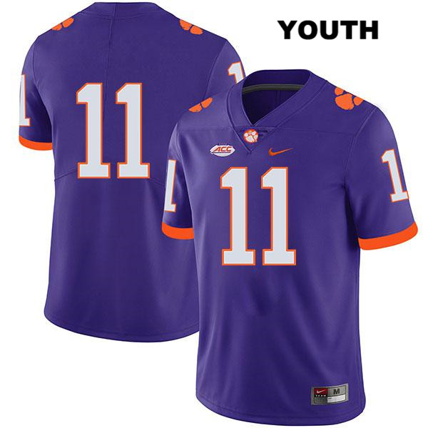 Isaiah Simmons Clemson Tigers Stitched no. 11 Youth Legend Nike Purple Authentic College Football Jersey - No Name - Isaiah Simmons Jersey