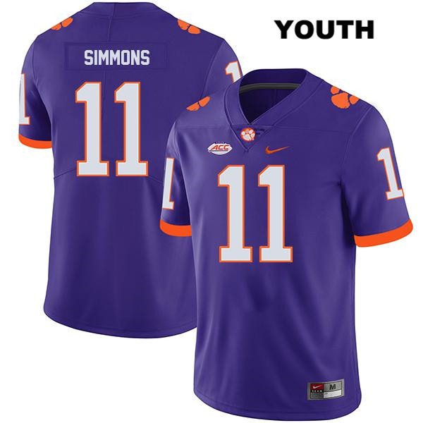 Isaiah Simmons Clemson Tigers Stitched no. 11 Youth Nike Legend Purple Authentic College Football Jersey - Isaiah Simmons Jersey