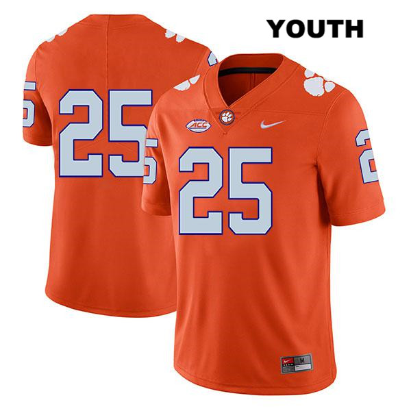 J.C. Chalk Stitched Clemson Tigers no. 25 Nike Youth Legend Orange Authentic College Football Jersey - No Name - J.C. Chalk Jersey