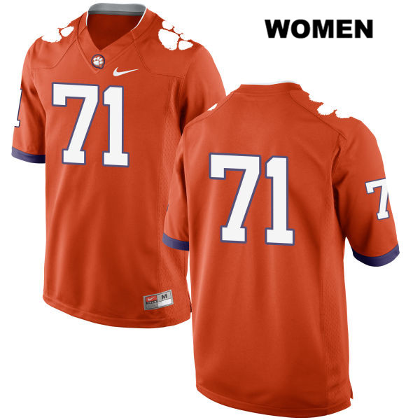Jack Maddox Stitched Nike Clemson Tigers no. 71 Womens Orange Authentic College Football Jersey - No Name - Jack Maddox Jersey