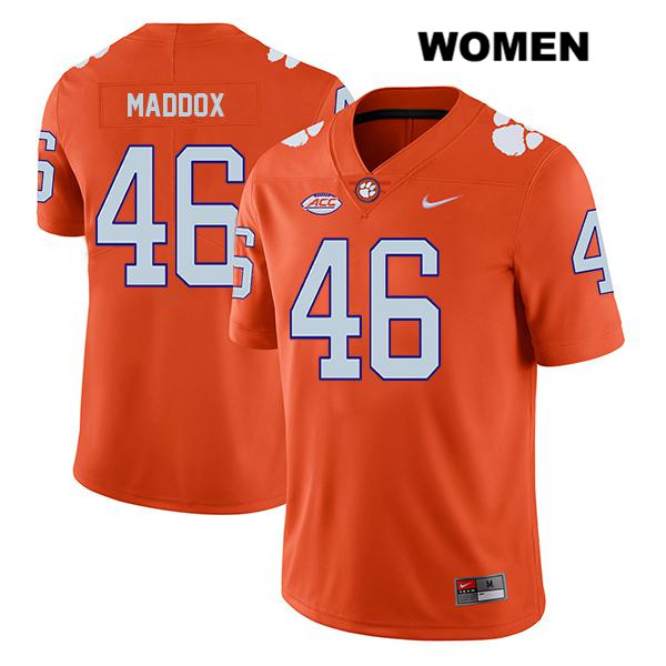 Legend Jack Maddox Nike Clemson Tigers Stitched no. 46 Womens Orange Authentic College Football Jersey - Jack Maddox Jersey