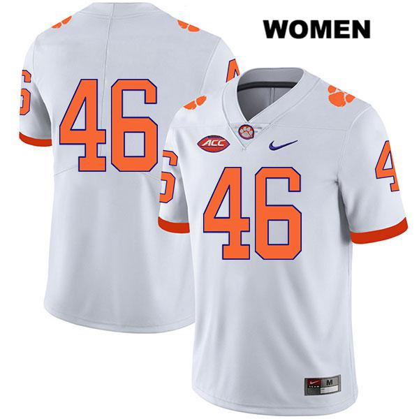 Jack Maddox Clemson Tigers Stitched no. 46 Legend Womens Nike White Authentic College Football Jersey - No Name - Jack Maddox Jersey