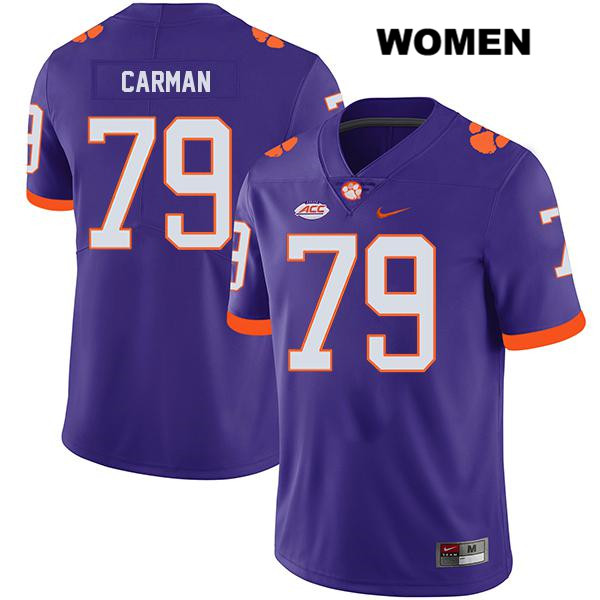 Stitched Jackson Carman Nike Clemson Tigers no. 79 Womens Legend Purple Authentic College Football Jersey - Jackson Carman Jersey