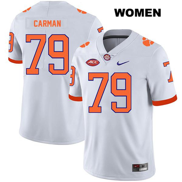 Jackson Carman Clemson Tigers Stitched Legend no. 79 Nike Womens White Authentic College Football Jersey - Jackson Carman Jersey
