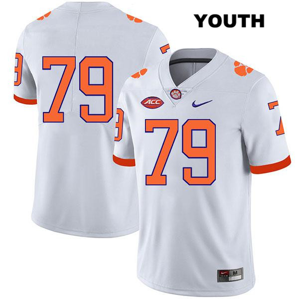 Jackson Carman Stitched Clemson Tigers Nike no. 79 Youth Legend White Authentic College Football Jersey - No Name - Jackson Carman Jersey