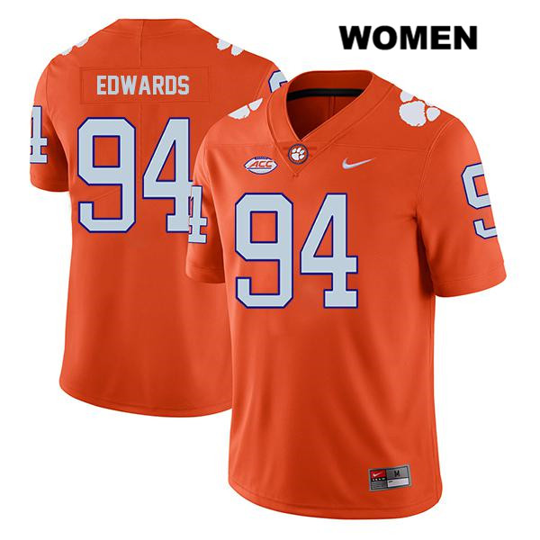 Jacob Edwards Clemson Tigers Stitched no. 94 Legend Nike Womens Orange Authentic College Football Jersey