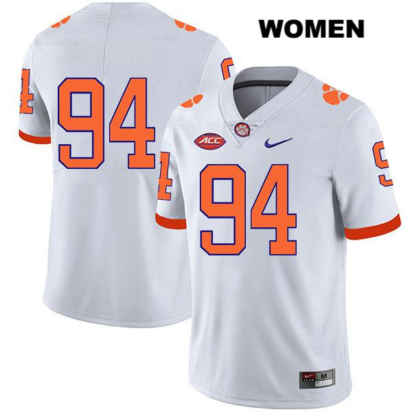 Jacob Edwards Clemson Tigers Stitched no. 94 Womens Nike White Legend Authentic College Football Jersey - No Name