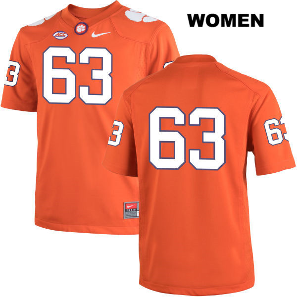 Jake Fruhmorgen Clemson Tigers Stitched no. 63 Womens Nike Orange Authentic College Football Jersey - No Name - Jake Fruhmorgen Jersey