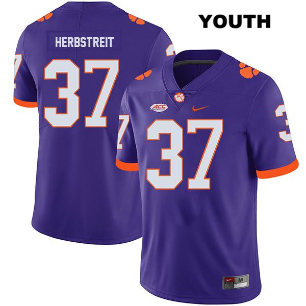 Jake Herbstreit Nike Stitched Clemson Tigers no. 37 Legend Youth Purple Authentic College Football Jersey
