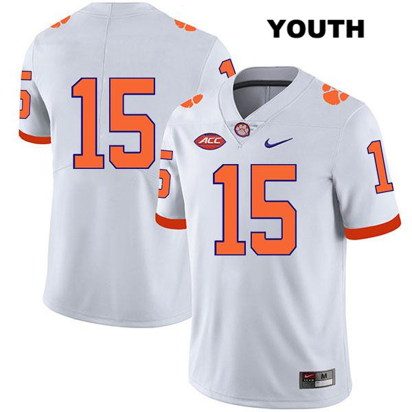 Jake Venables Clemson Tigers Stitched no. 15 Youth Legend White Nike Authentic College Football Jersey - No Name