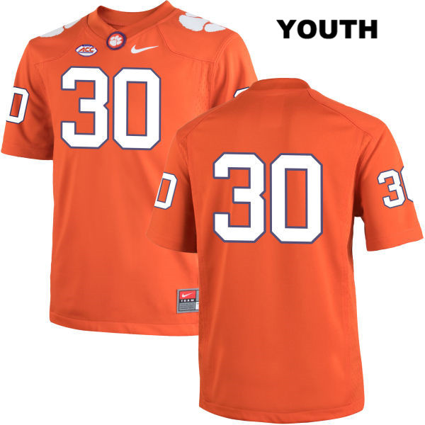 Jalen Williams Stitched Clemson Tigers Nike no. 30 Youth Orange Authentic College Football Jersey - No Name - Jalen Williams Jersey