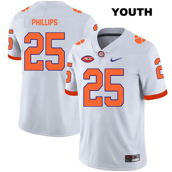 Jalyn Phillips Clemson Tigers Stitched no. 25 Legend Youth White Nike Authentic College Football Jersey - Jalyn Phillips Jersey