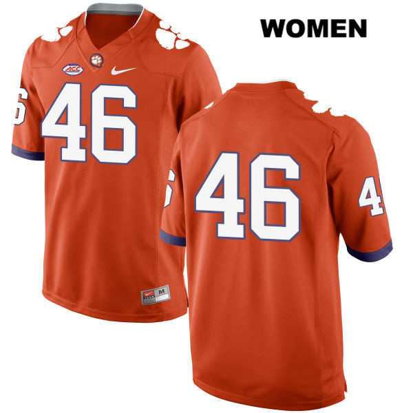John Boyd Clemson Tigers no. 46 Style 2 Womens Stitched Orange Nike Authentic College Football Jersey - No Name - John Boyd Jersey
