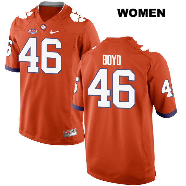 John Boyd Style 2 Clemson Tigers Nike no. 46 Womens Stitched Orange Authentic College Football Jersey - John Boyd Jersey