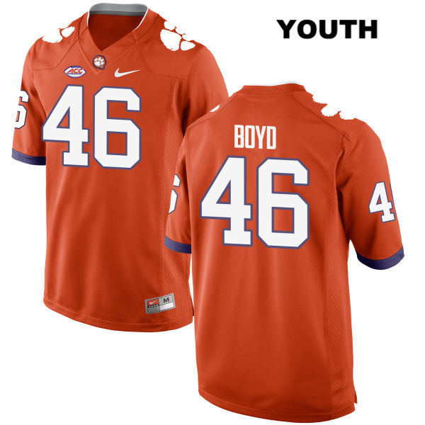 John Boyd Style 2 Clemson Tigers no. 46 Youth Stitched Orange Nike Authentic College Football Jersey - John Boyd Jersey