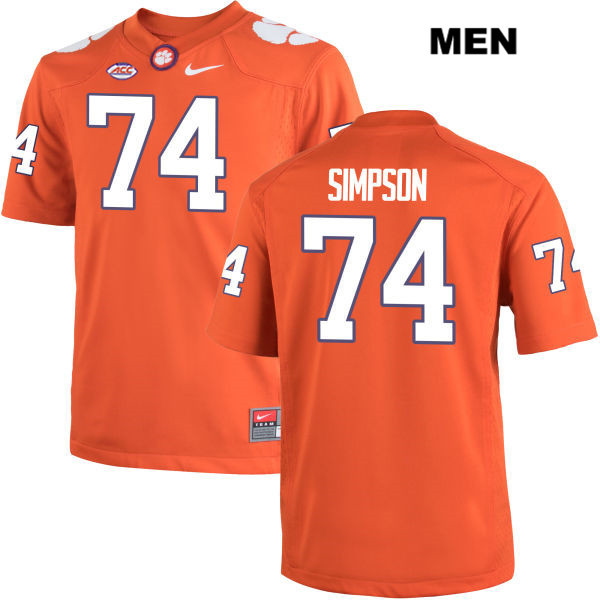 Nike John Simpson Clemson Tigers no. 74 Mens Stitched Orange Authentic College Football Jersey - John Simpson Jersey