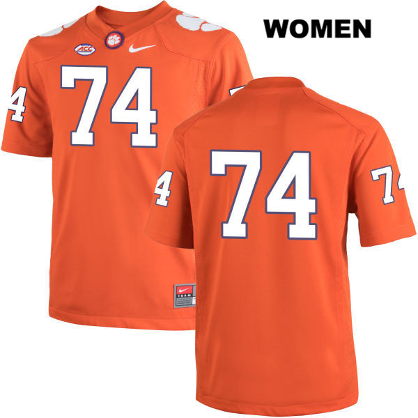 Nike John Simpson Clemson Tigers no. 74 Womens Orange Stitched Authentic College Football Jersey - No Name - John Simpson Jersey