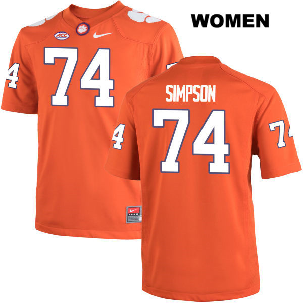 Stitched John Simpson Clemson Tigers Nike no. 74 Womens Orange Authentic College Football Jersey - John Simpson Jersey