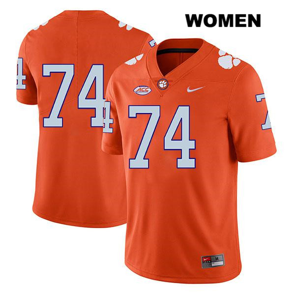 John Simpson Stitched Clemson Tigers no. 74 Legend Womens Nike Orange Authentic College Football Jersey - No Name - John Simpson Jersey
