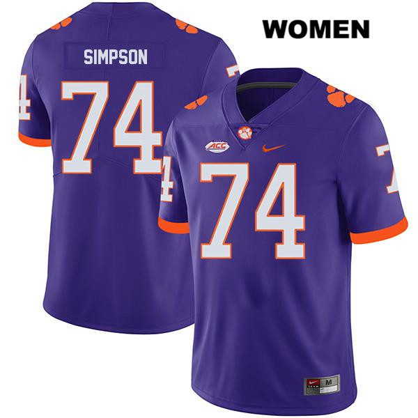John Simpson Clemson Tigers no. 74 Legend Nike Womens Purple Stitched Authentic College Football Jersey - John Simpson Jersey