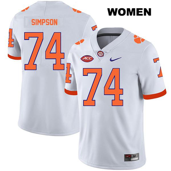 Legend John Simpson Nike Clemson Tigers no. 74 Womens White Stitched Authentic College Football Jersey - John Simpson Jersey
