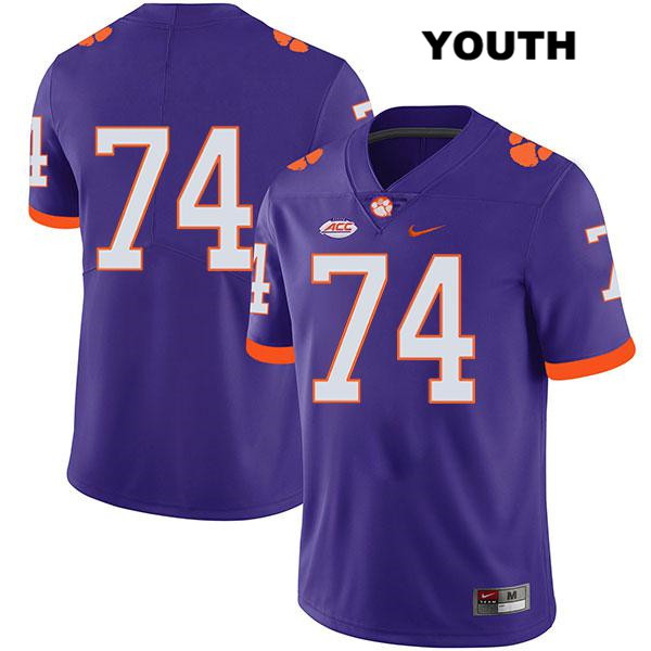 John Simpson Clemson Tigers Stitched no. 74 Legend Youth Purple Nike Authentic College Football Jersey - No Name - John Simpson Jersey