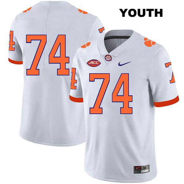John Simpson Legend Clemson Tigers Stitched no. 74 Youth White Nike Authentic College Football Jersey - No Name - John Simpson Jersey